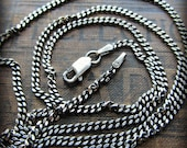 Curb Chain 2mm - Sterling Silver - mens - womens - antiqued silver - shiny silver