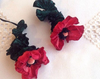 One Ribbon Flower Tassel handmade FWR with Ruched ribbon leaves and Vintage stamens