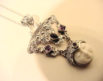 Necklace Carved Bone Face, Bali Silver Amethyst Pendant | The Esmey | Sterling filigree Ethnic Tribal Boho Gypsy mori pixie Coachella arty