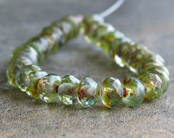 Aqua Picasso Czech Glass Beads 5x3mm Faceted Rondelle : 30 pc Full Strand Transparent Aqua Bead