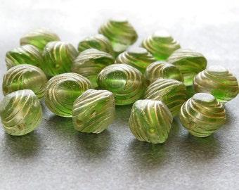 Fern Green Oval Gold Swirl Czech Glass Bead 10mm : 12 pc Czech Green 10mm Oval