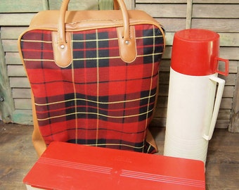 Free Shipping Lovely Red Black Plaid Tartan Picnic carrier case bag with thermos and container picnic set Free Shipping