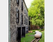 Woodford Reserve Bourbon Distillery: fine art photo with whiskey barrels, limestone building in Kentucky (green, brown, gray wall decor)