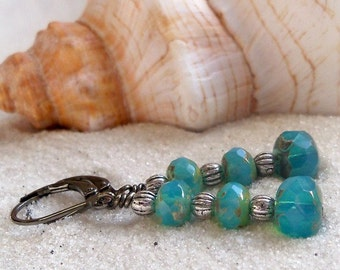 Boho Beaded Earrings - Dangle Earrings - Bead Jewelry - Beach Jewelry - Harbor Blue Series - Drop Earrings - Czech Glass Beaded Earrings