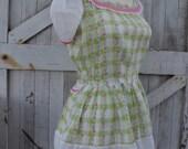 Vintage dress 1940s plaid dress 40s summer dress size medium vintage cotton dress