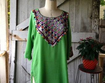 1970s ethnic tunic 70s green indian blouse size medium vintage festival shirt