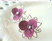 SALE ending soon Pink Flower Stud Earrings, Silver Flower Post Earrings,