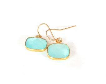 Aqua Chalcedony Earrings, 14K Gold Fill Ear Wires, Handmade Jewelry, Gift Ideas