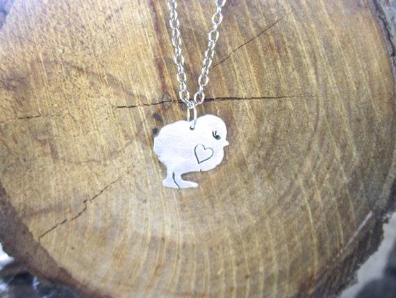 Mini Chick with Heart Necklace-Vegan Necklace-Vegan Jewelry-Valentines-Vegan Gift-Birthday-Anniversary-chickens-Chicken lover