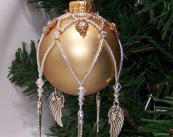 Tutorial, Sweetheart Charmed Swarovski Crystal Beaded Ornament Cover - Instant Download