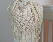 Knit V-Shape Chunky Scarf-Bandana-Cream Color- Boho