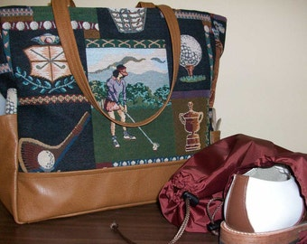 Linda Tote - Golf Theme with Leather Trim