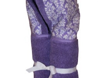 Personalized, Lavender petite damask on a lavender hooded towel.