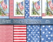 Independence Day | Flag Stars & Stripes Digital Paper | 4th of July Patriotic Watercolor Painting | Digital Download | Red White Blue