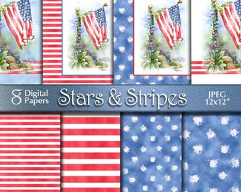 4th of July Patriotic Watercolor Painting | Independence Day | Flag Stars & Stripes Digital Paper | Digital Download | Red White Blue