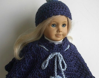 18 Inch Doll Clothes - Crocheted Navy Blue Poncho and Hat Set with Country Blue Pompoms made to fit the American Girl Doll