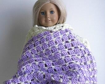 "Crocheted Doll Afghan Blanket for 14"" - 18"" Dolls Including Waldorf & Others - You Choose Color - Pink Blue or Lavender 16"" x 20"""