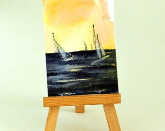 ACEO Sailboats Seascape, Colorful Sunset Sky, Dark Water, Miniature Painting, Impressionist Watercolor After The Storm