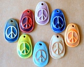 8 Handmade Ceramic Peace Sign Beads in a Rainbow of Colors