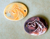 2 Handmade Ceramic Beads -  Horse Bracelet Beads