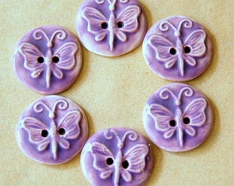 6 Handmade Ceramic Buttons - Butterfly Buttons in Lovely Spring Lavender