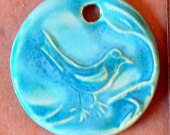 Aqua Bird Ceramic Bead - Pendant Bead with Extra Large Hole