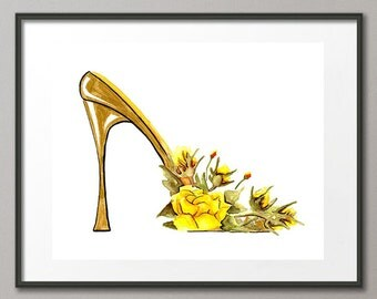 Fine Art Print Yellow Roses Flower Shoes Stiletto Pumps Fashion Colorful Watercolor Elena