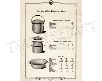 Kitchenware Vintage Art Deco 1920s Central Stamping Co catalogue print cookware Pots and Pans paper ephemera kitchen wall decor no. 6
