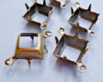 Brass Settings - 10x10mm Prong Settings with Two Loops for Jewels (2-3B-12)