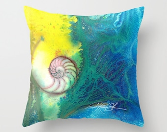 "Sea Shell Pillow, Nautilus Pillow, Ocean, Watercolor Painting, Art ""Soft Surrender"" Original sea shell  by Kathy Morton Stanion  EBSQ"