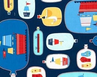 Message in a Bottle by Suzy Ultman, Ships in a bottle on Nautical Blue