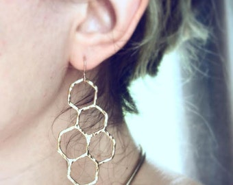 14k Gold Plated Honeycomb Dangle Earrings