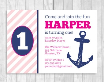 Printable 5x7 Nautical Girl's 1st Birthday Party Invitation in Pink, Hot Pink and Navy Blue with Anchor - Digital Download