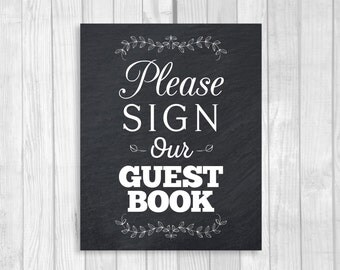Printable Please Sign Our Guest Book 8x10 Vertical Black and White Chalkboard Style Wedding Sign with Laurels - Instant Digital Download