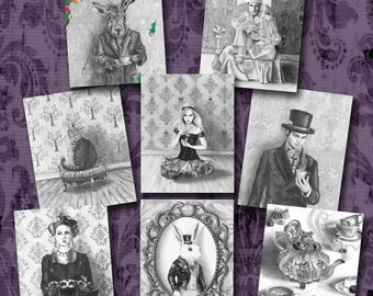 Alice in Wonderland Art PrintMad Hatter White Rabbit Caterpillar Cheshire Cat Queen of Hearts Fantasy Art 5x7