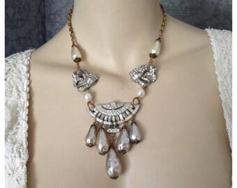 Stunning Baroque Teardrop Pearl and Deco Rhinestone Dress Clip Necklace, Earrings - Bridal, Wedding