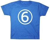 Kids CIRCLE Sixth Birthday T-shirt - Royal Blue
