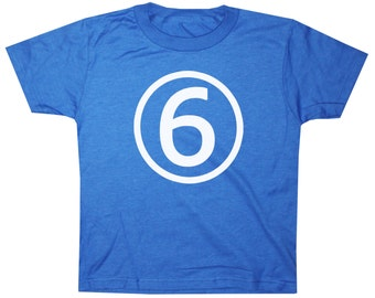 Kids Circle Sixth Birthday Shirt Awesome Boys 6th Birthday T-shirt - Royal Blue