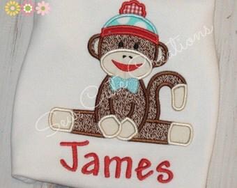 Sock monkey shirt, Monkey shirt, Sock Monkey birthday shirt, Boys birthday shirt, Girls birthday shirt, sew cute creations