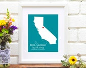 Personalized Wedding Gift California State Silhouette Map 8x10 Art Print Guest Book Personalized Anniversary Gift Bridal Shower Names Date