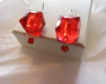 Big  Cube   Red Lucite Earring!!  Rock your team colors