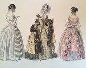 Antique French thick paper Fashion Plates for framing or paper craft