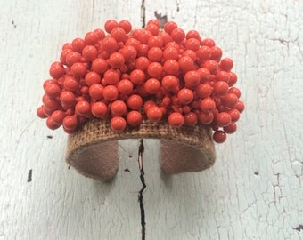 Coral Beads on Burlap Cuff with Ultrasuede Lining