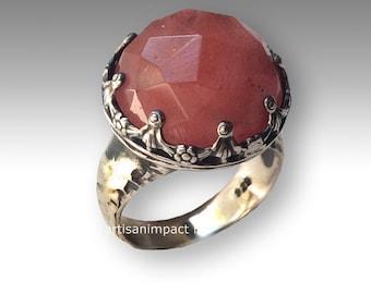 Cherry quartz ring, statement ring, Peach stone ring, Sterling silver ring, gemstone ring, silver crown ring, high ring - Optimism R2113