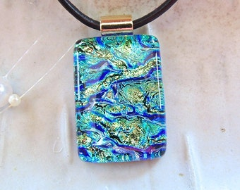 Dichroic Pendant, Glass Pendant, Fused Glass Jewelry, Necklace Included