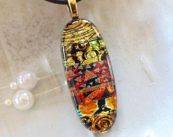 Dichroic Glass Pendant, Necklace, Glass Jewelry, Necklace Included, One of a Kind, A4