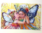 Flower Fairies Postcard - Sisters - Butterfly Fairies - Stationary - Watercolor Art