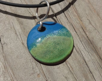 Handmade Copper Enamel Landscape Necklace, Enamel on Copper Landscape Necklace, Green, Tan, Blue, Grassy Hill and Blue Sky Landscape Enamels