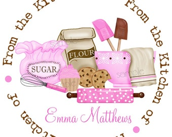 Kitchen stickers,baking labels, Cupcake and cookies, Rolling Pin, Mixing Bowls, Whisk, Gift Stickers, Baked Goods, Set of 12