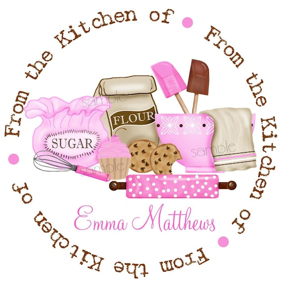 kitchen stickers baking labels cupcake and cookies rolling pin